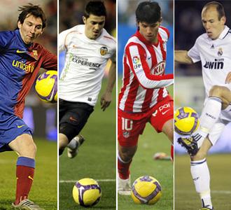Montaje de Messi, Villa, Ag�ero y Robben