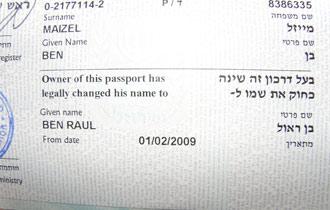 El nuevo pasaporte de Ben Ra�l tras cambiarse el nombre.