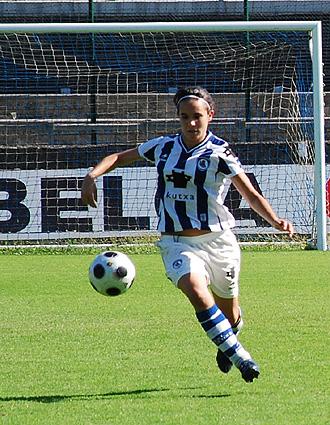 Maialen Zelaia en un partido con la Real Sociedad.