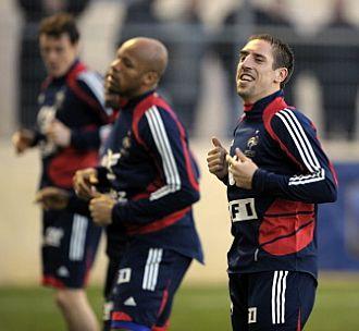 Ribery se ejercita con la selecci�n francesa
