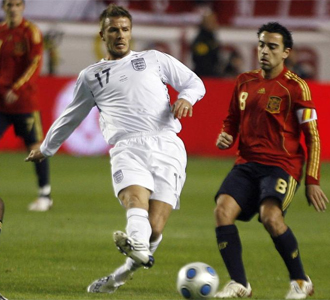 David Beckham en Sevilla ante Espa�a.
