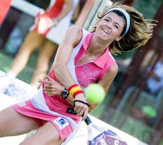Mar�a SIlvela en acci�n durante un torneo del P�del Pro Tour