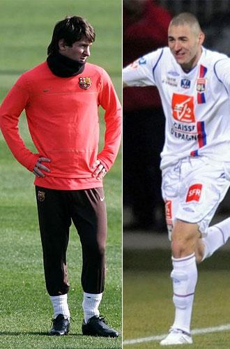 Montaje de Leo Messi, jugador del Barcelona, y Karim Benzema, delantero del Lyon