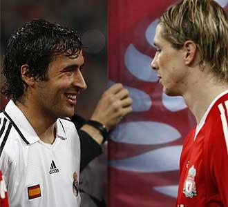 Torres y Ra�l antes del partido