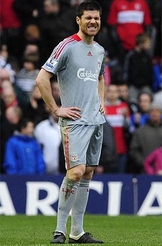 Xabi Alonso se lamenta durante el partido ante el Middlesbrough