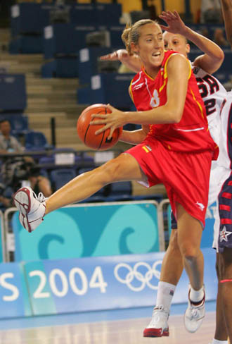 Marta Fernández, con la selección en 2004
