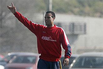 Luis Fabiano, durante un entrenamiento con el Sevilla