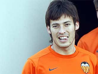 Silva, al final de un entrenamiento con el Valencia