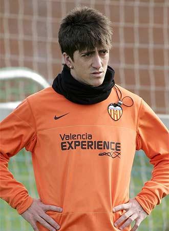 Pablo, en un entrenamiento del Valencia