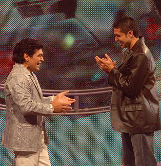 Maradona y Riquelme en un progama de televisi�n