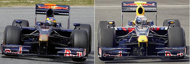 Es dif�cil diferenciar al Toro Rosso, a la izquierda, del Red Bull; son id�nticos en casi todo, menos en los motores: el primero lleva Ferrari y el segundo, Renault.