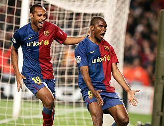 Henry y Etoo marcaron contra el Lyon