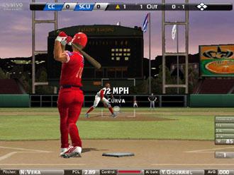 Imagen del videojuego, que recrea un estadio cubano