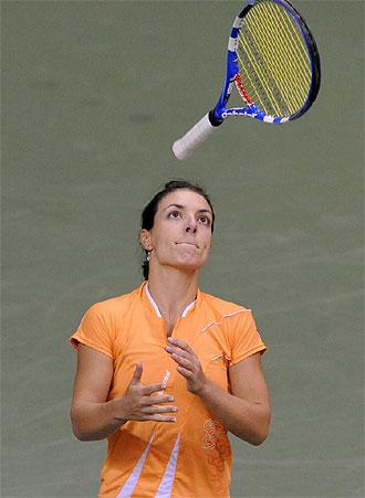Nuria Llagostera durante un partido de Fed Cup ante la Rep�blica Checa en Brno.