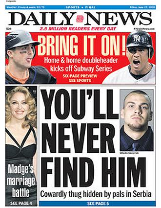 Portada del Daily News sobre el 'caso Kovacevic'