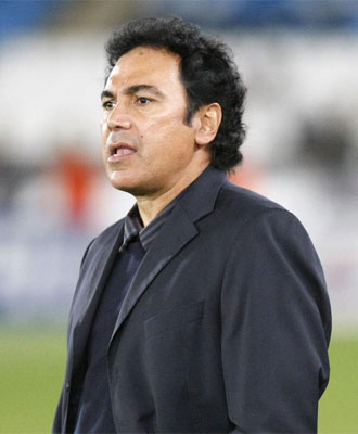 Hugo S�nchez, durante el partido ante el Bar�a.