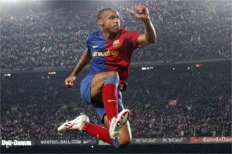 Henry celebr� con un gran salto su gol ante el M�laga