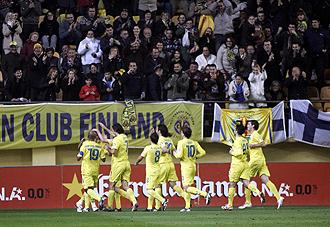 Los jugadores del Villarreal celebrando un gol en El Madrigal