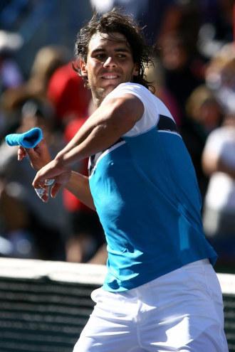Nadal celebra la victoria en al final del torneo de Indian Wells.