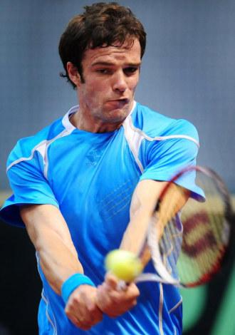 Teimuraz Gabashvili durante un partido de Copa Davis en Ruman�a.