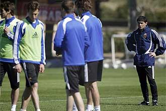 Un instante del entrenamiento del Real Zaragoza