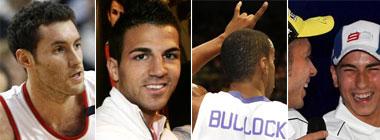 Rudy, Cesc, Bullock y Lorenzo con Rossi