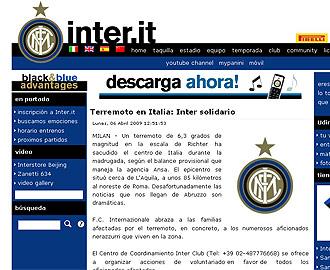 La web del Inter tambi�n muestra un mensaje de solidaridad y pide voluntarios para colaborar en las labores de rescate.