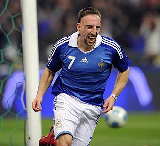 Franck Ribery celebra un gol con la selecci�n Francesa