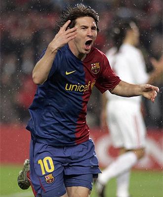 Leo Messi celebra uno de sus tantos ante el Bayern