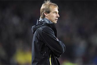 El t�cnico del Bayern, Jurgen Klinsmann, durante el partido en el Camp Nou