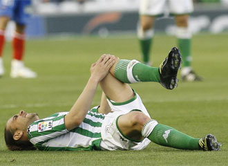 Sergio Garc�a se lesion� celebrando un gol ante el Numancia.