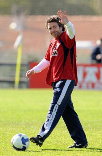 Lillo, durante un entrenamiento con el la Real Sociedad