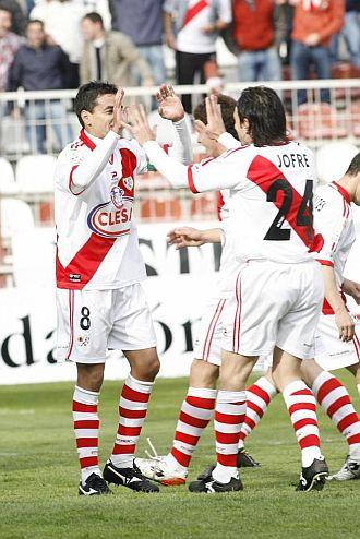 Los jugadores del Rayo celebraron su victoria ante el Celta