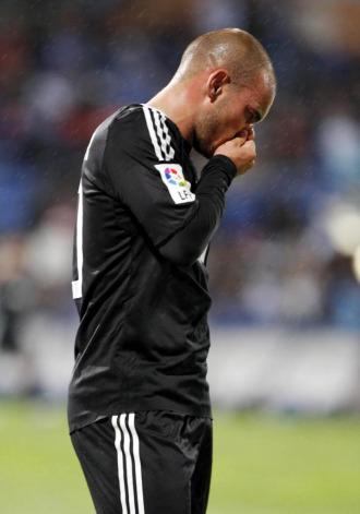 Sneijder, en el duelo ante el Recreativo.