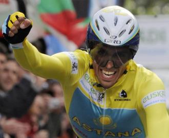 Alberto Contador durante la pasada Vuelta al Pa�s Vasco.