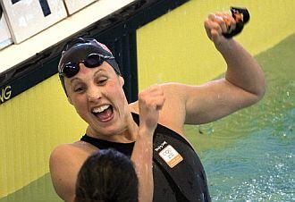 Marleen Veldhuis celebra uno de sus r�cords mundiales