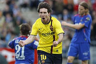 Messi celebra el gol de la victoria ante el Getafe