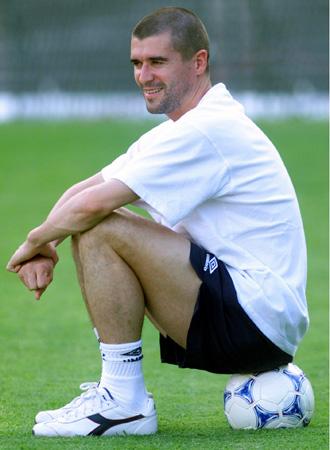 Roy Keane durante un entramiento en su etapa como jugador