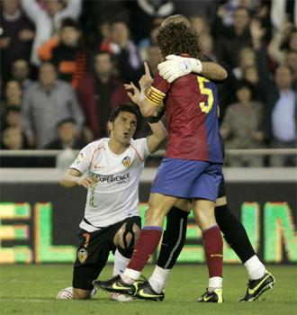 Villa le recrimina una acci�n a su amigo Puyol