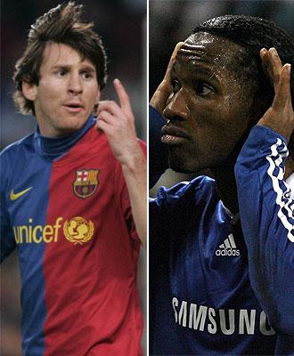 Leo Messi, jugador del Barcelona, y Didier Drogba, delantero del Chelsea