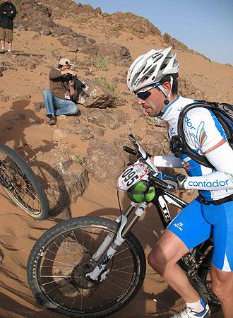 Fran Contador, durante la prueba de la Nissan Titan Desert.