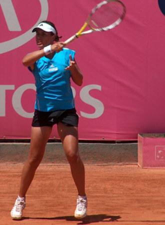 Anabel Medina durante un partido en Fes.