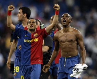 Los jugadores del Barcelona celebran la victoria en el Clásico.