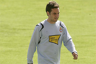 David Garc�a, durante una sesi�n preparatoria del Espanyol