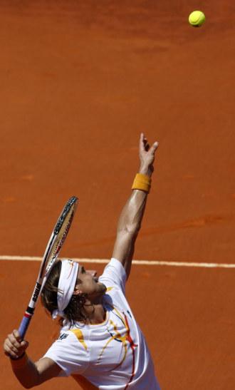 David Ferrer durante su choque ante Daniel Gimeno-Traver en Estoril.