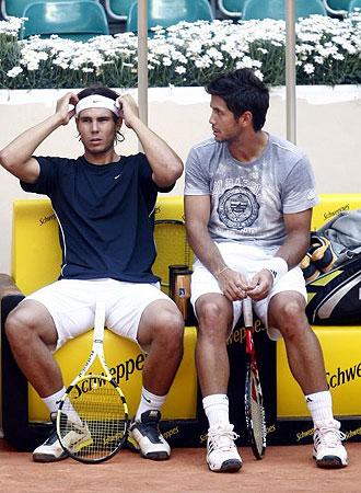 Nadal y Verdasco, en un instante de su entrenamiento en Madrid
