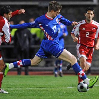 Klasnic en un partido con la selecci�n croata.