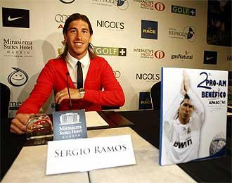Sergio Ramos, en la presentaci�n del torneo ben�fico.