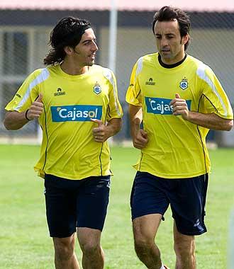 Javi Guerrero y Quique Álvarez corren durante un entrenamiento la pasada campaña.