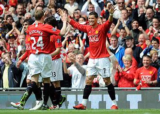 El Manchester celebra un gol de Cristiano Ronaldo